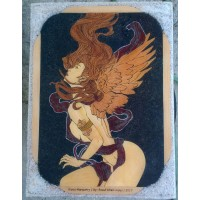 Wood Inlay, Wood Marquetry Panel of a Naked Angel