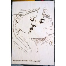 Pyrography Panel of Lovers Kiss
